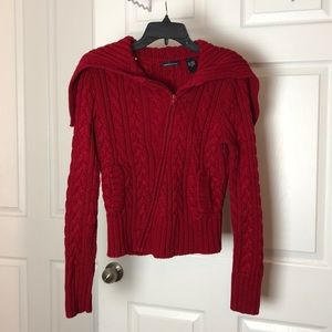 Red knit zip up sweater with pockets